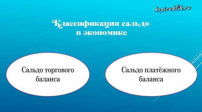 2 вида экономического сальдо